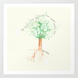 Organic Watercolor Tree with Einstein Quote Art Print