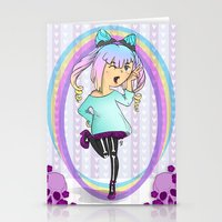pastel goth Stationery Cards featuring Girl Pastel Goth by Fanuna