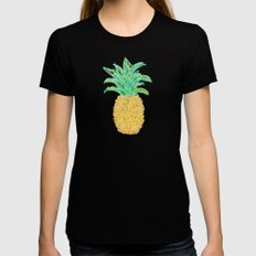 Pineapples and Polka Dots (pattern) Womens Fitted Tee Black SMALL