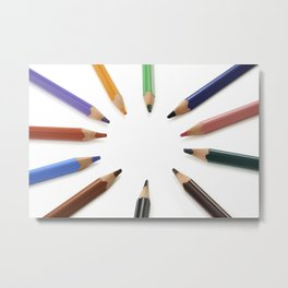 Assorted  colored pencils in a circle Metal Print