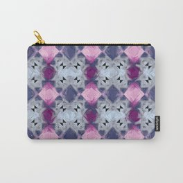 Fractal Art Repeating Impasto Rectangular Pattern Pink & Blue Carry-All Pouch