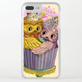 Happy Birthday Cupcake Owls Suprise Clear iPhone Case