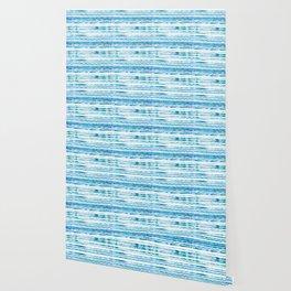 Ocean Blue Stripe Pattern Wallpaper