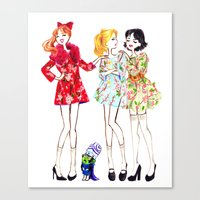 powerpuff girls Canvas Prints featuring Powerpuff girls getting classy by Maëlle Rajoelisolo