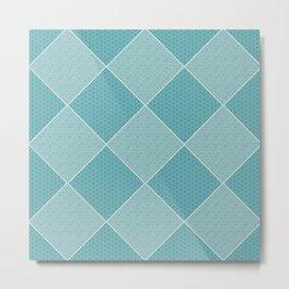 Aqua Tiles Pattern Metal Print