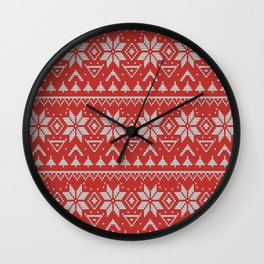 4 Knitted Christmas pattern in retro style pattern Wall Clock
