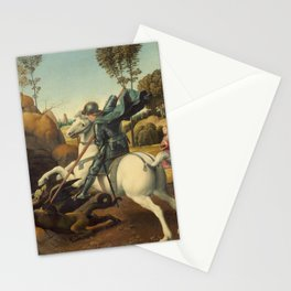 Saint George and the Dragon Oil Painting By Raphael Stationery Cards