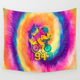 A reworked Bicycle acid 1943 on a tie dye background. Wall Tapestry