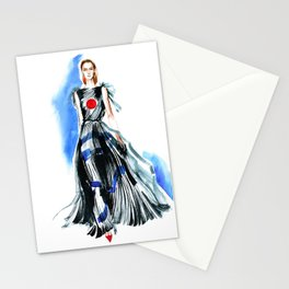 fashion #47: a girl in black dress with red round on chest Stationery Cards