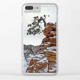 RED SANDSTONE AN TREE IN SNOW Clear iPhone Case