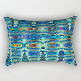 Abstract High Texture Weaving Pattern Blue Green Rectangular Pillow