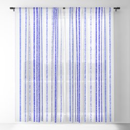 Thin Blue Speckled Vertical Line Pattern Sheer Curtain