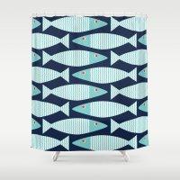 bass Shower Curtains featuring Wavy Bass by Jill Byers