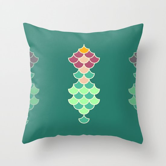 Mermaid Decorative Pillows : Mermaid Scales Throw Pillow by HYRULER Society6