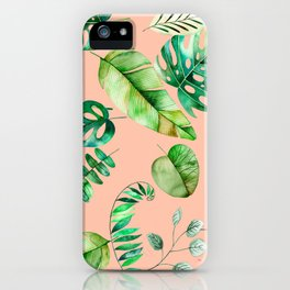 Tropical Leaves on Peach iPhone Case