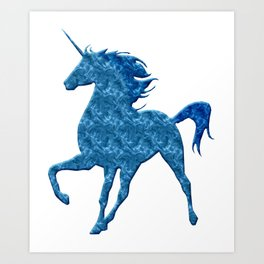 Blue Magical Unicorn Art Print