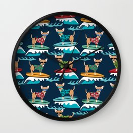 chihuahua pattern surfing cute pet gifts dog lovers chihuahuas Wall Clock