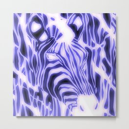Electric Zebra Metal Print