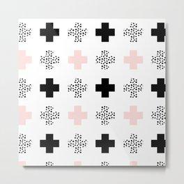 Polka Dot Swiss Cross - Black / White / Pink Metal Print