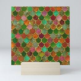 Greens & Gold Mermaid Scales Mini Art Print