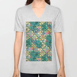 Gilded Moroccan Mosaic Tiles with Palm Leaves Unisex V-Neck