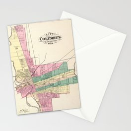 Map of Columbus 1872 Stationery Cards