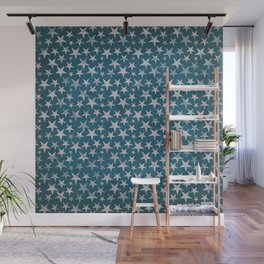 White stars on grunge textured blue background Wall Mural