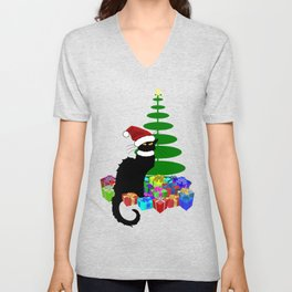 Christmas Le Chat Noir With Santa Hat Unisex V-Neck
