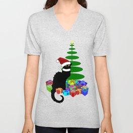 Christmas Le Chat Noir With Santa Hat Unisex V-Neck