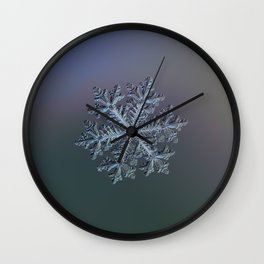 Real snowflake - Hyperion dark Wall Clock