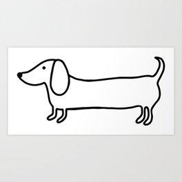 Simple dachshund black drawing Art Print
