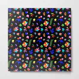 Groovy Prairie Bouquet in Black Metal Print