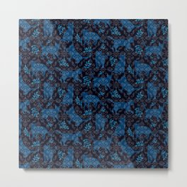 Damask Cats Dark Blue Metal Print