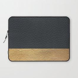 Color Blocked Gold & Leather Laptop Sleeve