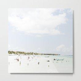 White Waves Beach Metal Print