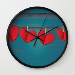Red paper hearts tie to a rope Wall Clock