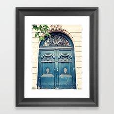 Paris door, navy, grand Framed Art Print