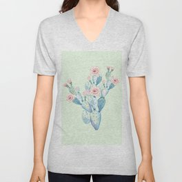 Rose Desert Cactus Mint Green + Pink by Nature Magick Unisex V-Neck