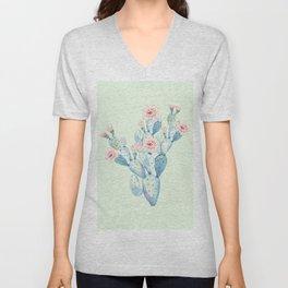 Rose Desert Cactus Mint Green + Pink by Nature Magick Unisex V-Neck