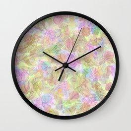 Soft Pastel Mixed Floral Abstract Wall Clock