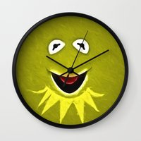 kermit Wall Clocks featuring Kermit The Frog by DisPrints