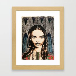 Boho Girl, unique stencil art painting with embroidery Framed Art Print