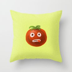 Funny Cartoon Tomato Throw Pillow