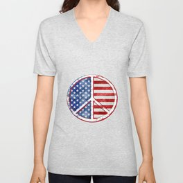 Watercolor Patriot Peace Symbol Stars and Stripes USA Flag Unisex V-Neck