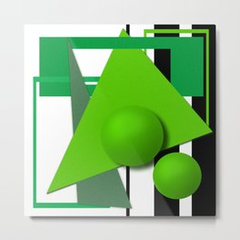 Abstract painting, abstraction, green and black Metal Print