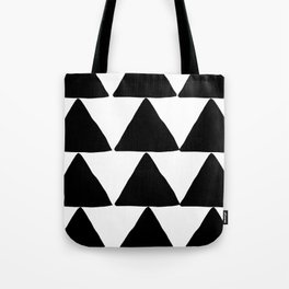 Mountains - Black and White Triangles Tote Bag