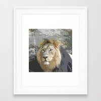 the lion king Framed Art Prints featuring Lion King by MehrFarbeimLeben