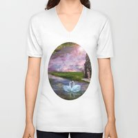 river song V-neck T-shirts featuring Moon River by Susie Hawkins
