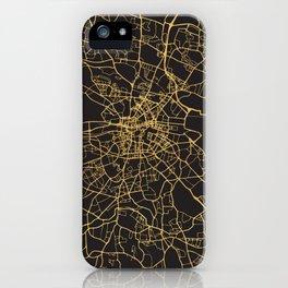 DUBLIN IRELAND GOLD ON BLACK CITY MAP iPhone Case