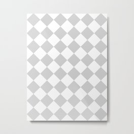 Large Diamonds - White and Light Gray Metal Print